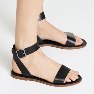 Madewell Black Leather Ankle Strap Flat Sandals